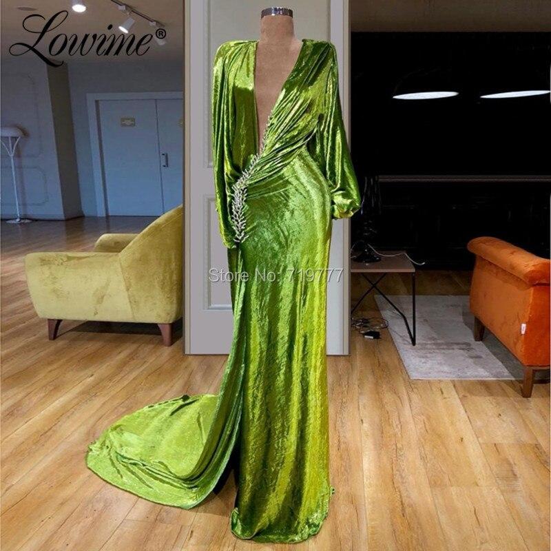 Deep V Neck Green Evening Dresses Celebrity Party Dress For Women 2019 Newest Design Velvet High Slit Prom Gowns Robe De Soiree