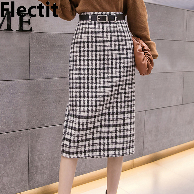 Flectit Vintage Plaid Belted Tweed Skirt Women Midi Long Thick Wool High Waist A-Line Business Work Outfits  *