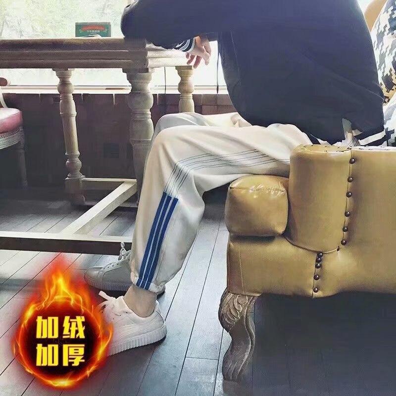 Autumn And Winter New Style Athletic Pants Men's Plus Velvet Xi Ha Ku Trend Casual Pants Stripes Loose-Fit Teenager Beam Leg Har
