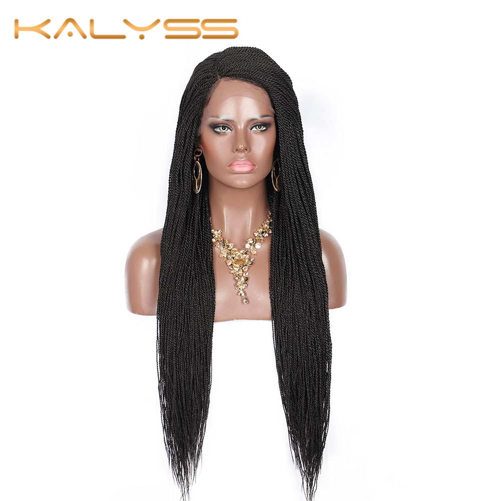 Kalyss Wigs For Women Micro Million Twist Braided Synthetic Lace Front Wig Senegalese Twisted Cornrows Braids Wigs 29 Inches