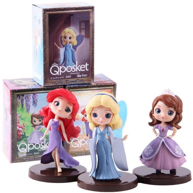 Q Posket Characters Petit Vol.15 Princess Sofia Ariel Blue Fairy Petit Aladdin Megara  PVC Figures Toys 3pcs/setAction & Toy Figures