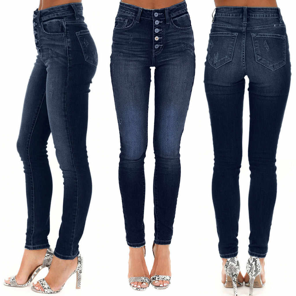 Mujer jeans Casual Denim alta cintura pantalones vaqueros de ...