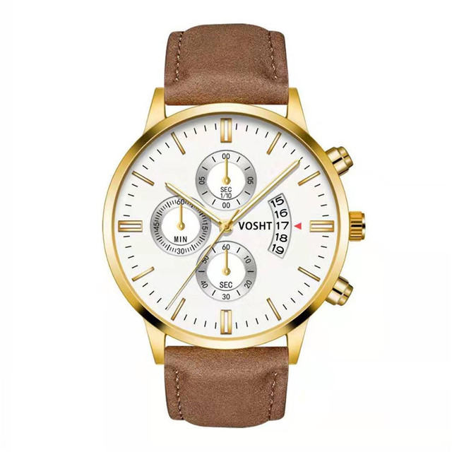 Simple Sport Stainless Steel Case Leather Band Watch 3