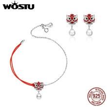 WOSTU prawdziwe 925 Sterling Silver Chiness Lion Dance Jewelry Set Red emalia bransoletka i kolczyki modna biżuteria na prezent 2 sztuk/zestaw