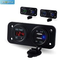 Car-Charger Socket Voltmeter Waterproof Dock 12V with Digital LED Black