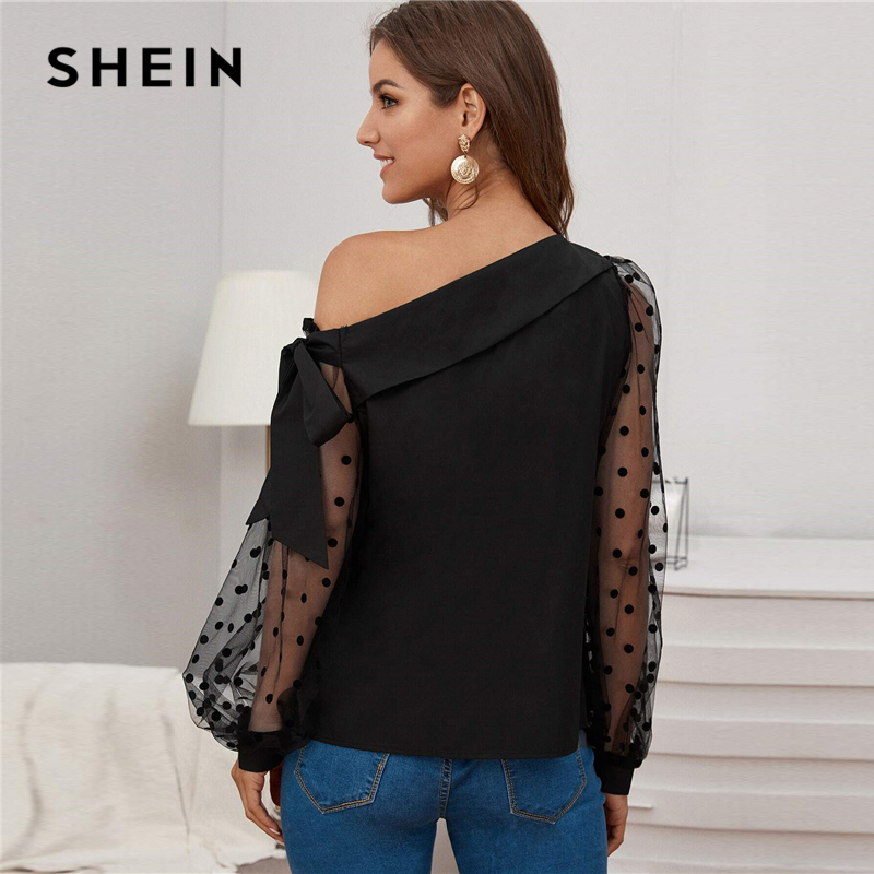 SHEIN Knot Asymmetrical Fold Neck Dot Lantern Mesh Sleeve Top Blouse Women Spring Summer Sheer Glamorous Party Blouses 2