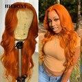Оранжевый имбирь волна Синтетические волосы на кружеве человеческих волос парики с детскими волосами бразильские волосы Оранжевый 13x6 синт...