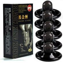 10 pz preservativi nero durevole Ultra sottile manica del pene lunga durata lattice naturale preservativi lubrificati uomini contraccezione prodotti del sesso
