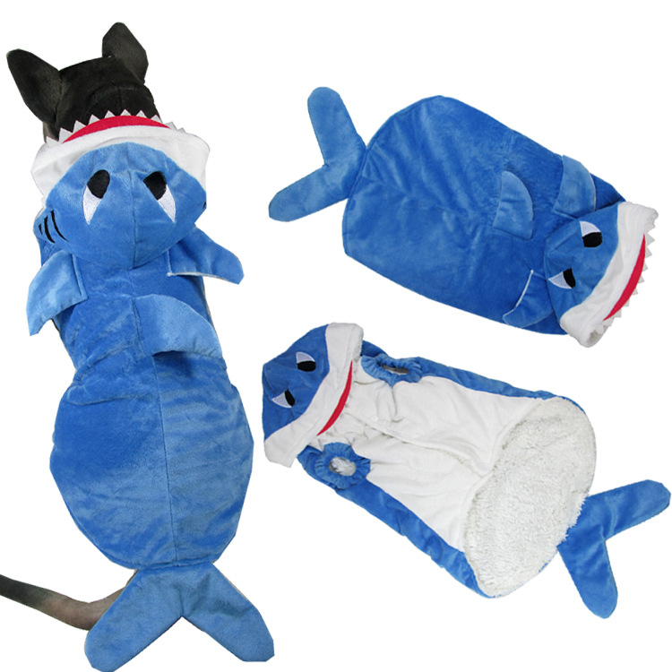 The New Fun Big Dog Pet Makeover Pet Clothing Three-dimensional Shark Big Dog Warm and Fluffy Makeover Dog Clothes for Small Dog