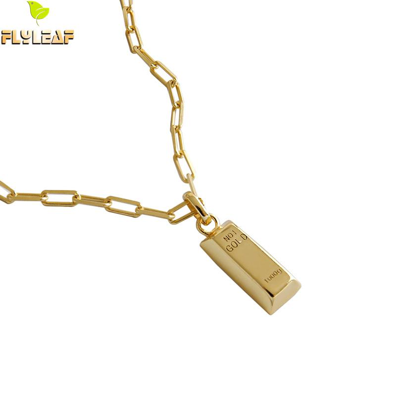 925 Sterling Silver Geometric Bullion Shape Gold Pendant Necklace For Women INS Simple Lady Girl Student Fine Jewelry Flyleaf