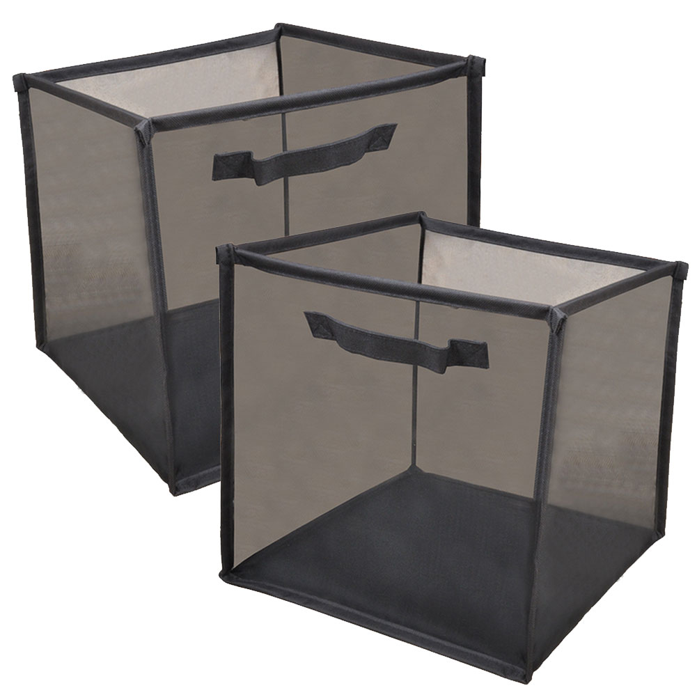 Permalink to Bathroom Vanity Organizer Mesh Bins Foldable Storage Bag with Carry Handle for Clothes Kids Toys Beauty Products Black