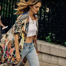 Beach Cardigan Womens Tops Gown 2019 Kimono Cotton Holiday Long Fashion Elegant Multicolor Print Bohemian Shirt