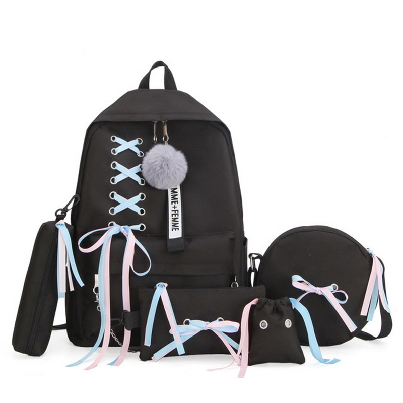 5pcs/set School Bag For Teenage Solid Backpack Schoolbag Women Student Bag Lace Bow Bundle Backpack Drop Shipping