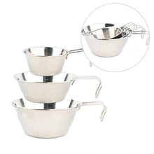 Outdoor Stainless portable folding steel bowl three pcs set camping kitchen tools стоимость