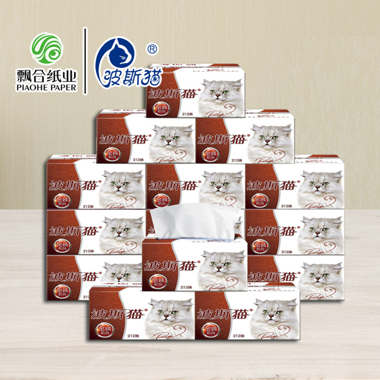 Piaohe Cat Gold Series Old And New Packaging Extraction Type Facial Tissues 16 Packages In A Whole Box