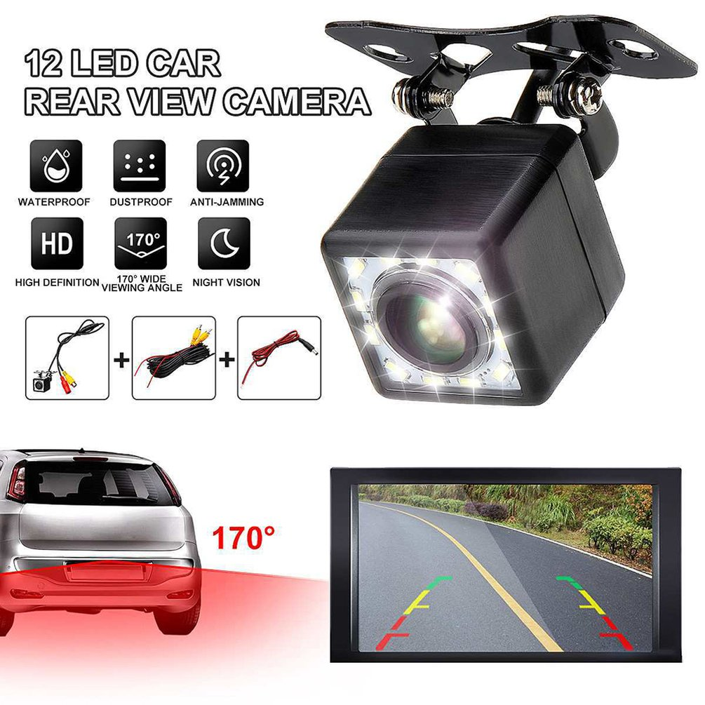 Reversing-Camera Rear-View Night-Vision Waterproof Wide-Angle Square Plug-In Car Hd 12-Lights title=