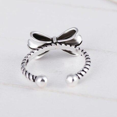 Opaska vintage-knot Thai srebrny otwarty pierścionek 925 srebro pierścionki dla kobiet biżuteria