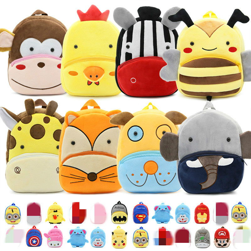 Cute Cartoon Mochila Bebe Animal Prints Kids Plush School Bags Toy Kawaii Bag Children Gifts Baby Backpack Boy Girl Student Bags