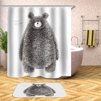 Niedźwiedź prysznic ilustracja wodoodporna pleśni zasłona prysznicowa toaleta przegroda zasłona zasłona prysznicowa z haczykami tanie i dobre opinie CN (pochodzenie) Poliester Amerykański styl cartoon Ekologiczne Other T16YL011 W150cm*L180cm W180cm*L200cm 350~400g Use as bathroom curtain window pannel or door