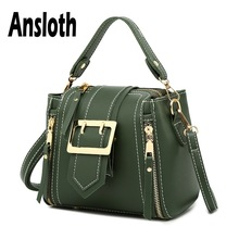 Ansloth Solid Color Shoulder Bag For Women Quality PU Leather Bucket Lady Casual Crossbody Female Small Handbag HPS657
