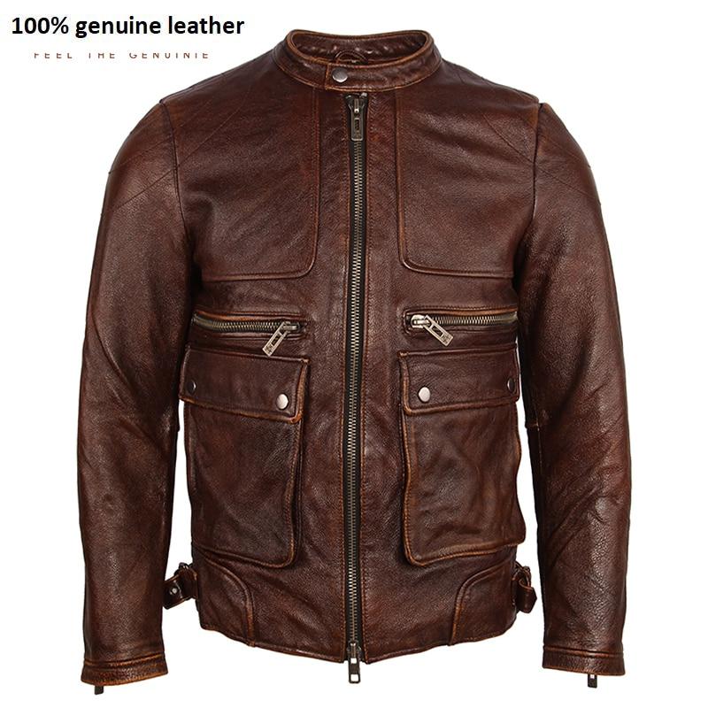 Vintage Distressed Leather Jacket Men Soft100% Natual Calfskin Genuine Leather Jacket Men Winter Coat Male Clothing Autumn M182