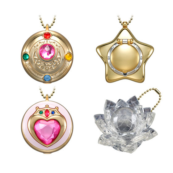 Pretty Soldier Sailor Moon Sailormoon Anime <font><b>Transformation</b></font> Brooch <font><b>4</b></font> PIECES Plastic Non-eating Candy <font><b>Toy</b></font> image