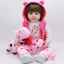 Reborn Baby Doll Toy Cloth Body Stuffed Realistic Baby Doll With Giraffe Toddler Birthday Christmas