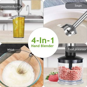 4-in-1 Stainless Steel 1100W Immersion Hand Stick Blender Mixer Vegetable Meat Grinder 500ml Chopper Whisk 800ml Smoothie Cup