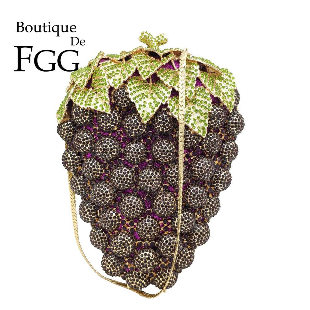 Boutique De FGG Novelty Grape Women Purple Evening Clutch Bag Wedding Cocktail Crystal Clutch Ladies Rhinestone Purse And Handbg