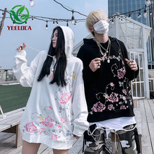 2019 Autumn Winter New Embroidered Flowers Hoodie Couple Hip hop Oversized Cotton Trend Design Youth Sweatshirt