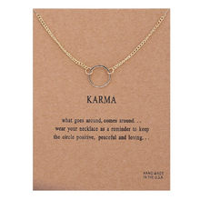 Gold Card Vintage Karma Chain Circle Necklace Pendant Necklaces Chocker Chains Statement Women Jewelry