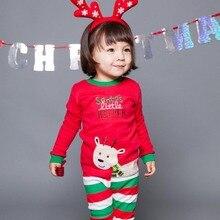 Детские пижамные комплекты коллекция года, детские пижамы с изображением Санта Клауса для мальчиков, топы с длинными рукавами+ штаны, комплект детской одежды из 2 предметов для девочек