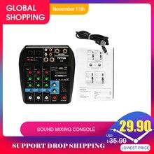 TU04 BT 4 Kanäle Sound Mischpult Rekord 48V Phantom Power Monitor AUX Wege Plus Effekte Audio Mixer mit USB