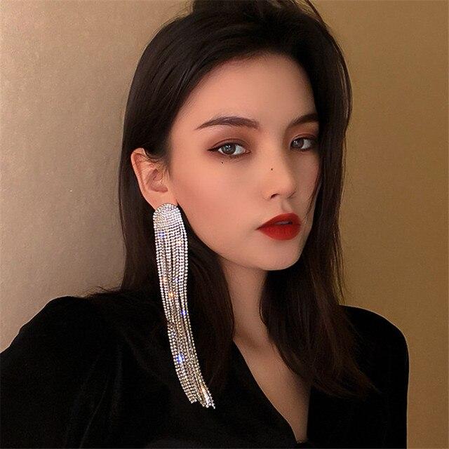 FYUAN Long Tassel Full Rhinestone Drop Earrings for Women Ovsize Crystal Dangle Earrings Fashion Jewelry Accessories 1