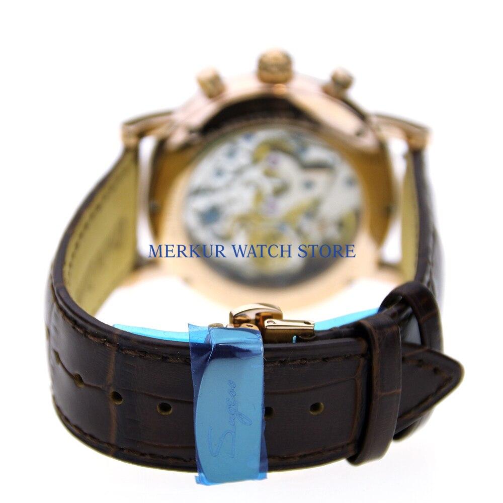 44 мм parnis белый циферблат день дата золотые метки кожаный ремешок автоматические мужские часы 18 - 4