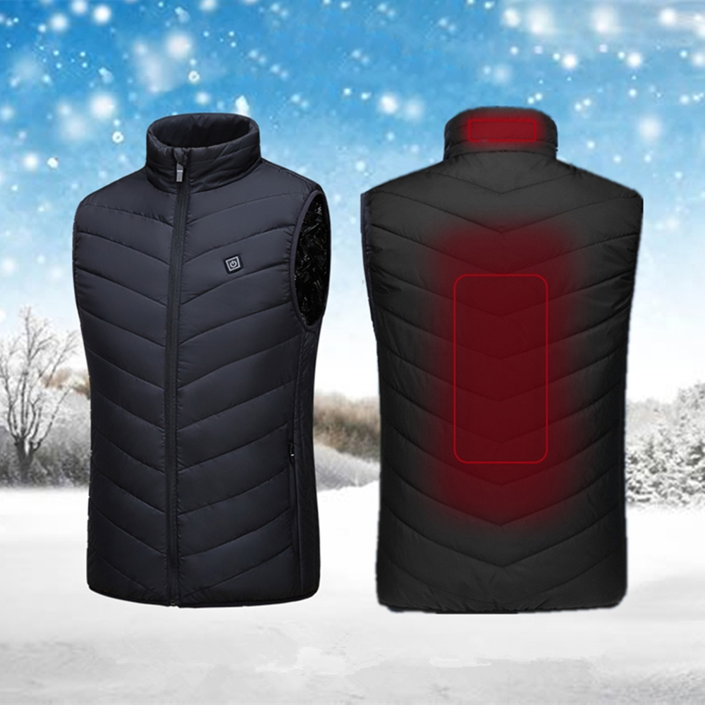 Heated Waistcoat Adjustable Sleeveless Winter Outdoor Cycling Skiing Warmer Equipments Three Modes Clothing Feather Waistcoat