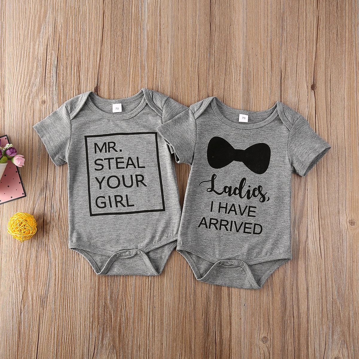0-24M Newborn Toddler Kids Baby Boy Bodysuits Letter Print Grey Summer Outfits Clothes Short Sleeve Jumpsuits Tops
