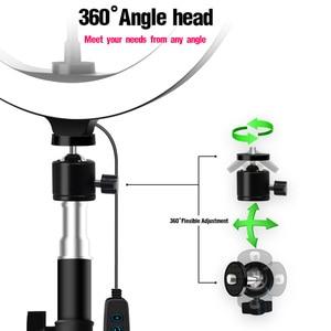Image 4 - 26cm/10inch inch LED Ring Light 10 Levels 3200 5600K +Tripods Phone Tablet Holders for Live Makeup YouTube Video Lighting