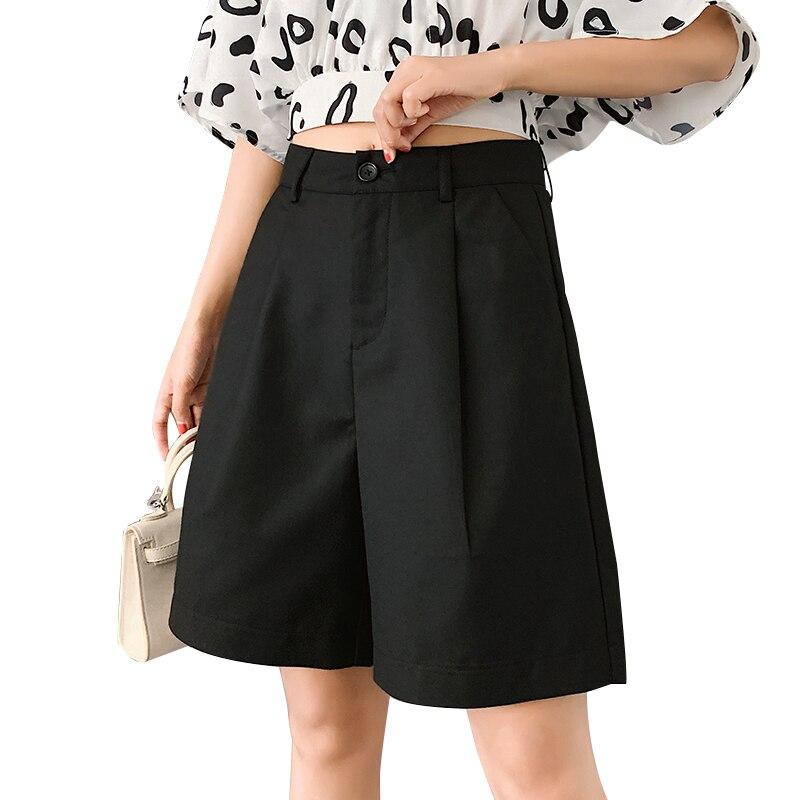 Women Suit Shorts Summer 2020 New High Waist Wide Leg Short Korean Straight Loose Short Girls Plus Size Fashion Bermuda Trouser
