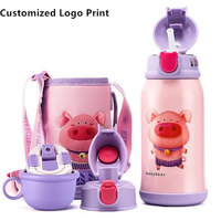 Beddybear Customized Logo Print Stainless Steel Water Bottle bottle kids Animal Cartoon Cup with Straw Cup