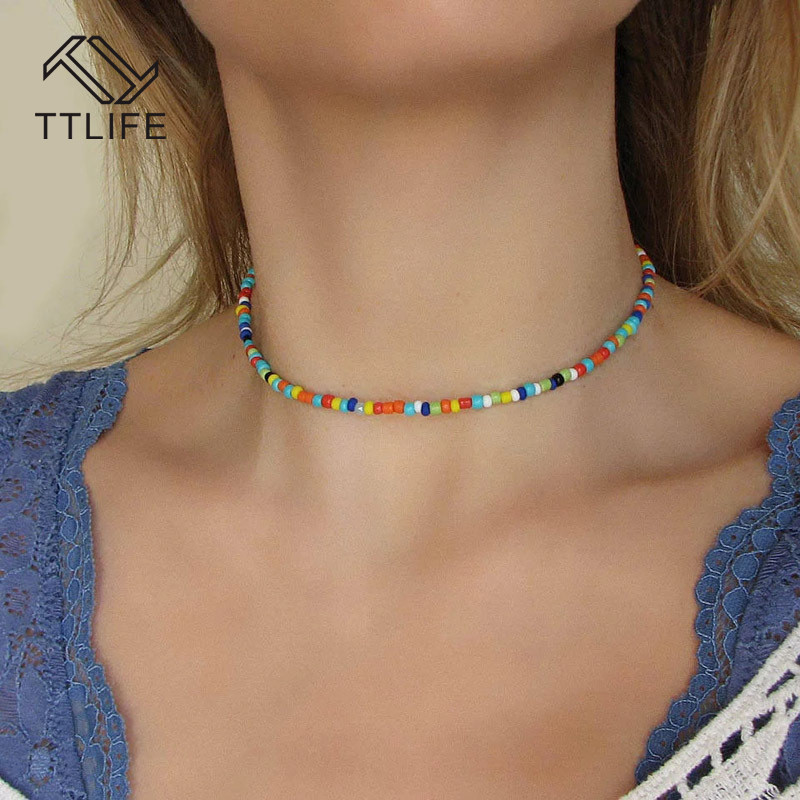 TTLIFE Bohemian Handmade Rainbow Beads Choker Necklace Boho Candy Color Bead Satellite Necklace Women Fashion Jewelry Necklaces(China)