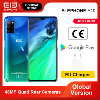 ELEPHONE E10 Smartphone 4GB 64GB 6.5'' Waterdrop Screen 48MP Quad Rear Cameras Octa Core 4000mAh Android 10.0 Mobile Phones NFC