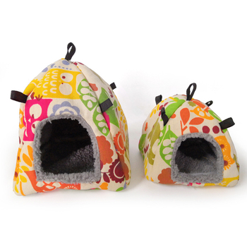 Color Random Warm Cotton Tent Shape Small Pet Squirrel Parrot Sugar Glider Hanging Cage Hamster Cage Bed House Hedgehog Nest Toy 3