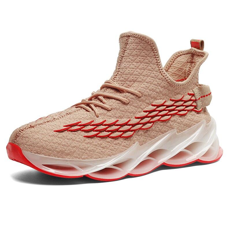 Новинка, мужские кроссовки для бега, бега, прогулок, спорта, высокое качество, на шнуровке, дышащие кроссовки - Цвет: 9013Apricot