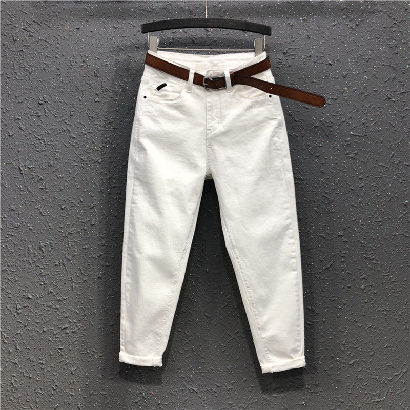 Spring New Fashion Women High Waist Loose White Jeans All-matched Casual Elastic Denim Cotton Harem Pants Plus Size S963