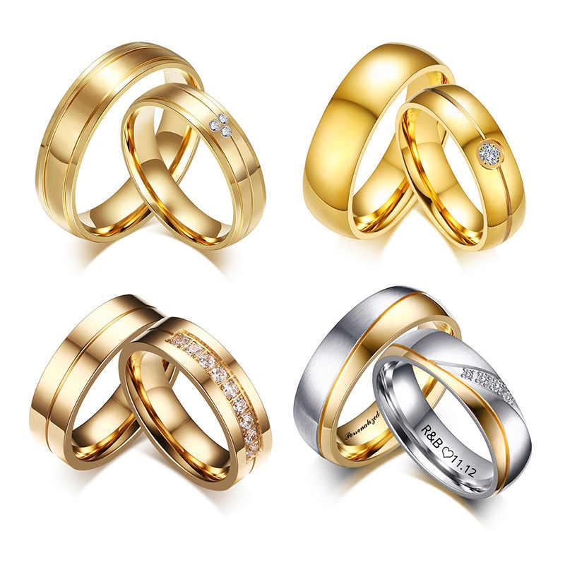 ส่วนบุคคลชื่อสัญญาแหวนสำหรับคนรักทองสีแหวนสแตนเลสสำหรับชายคู่หมั้นของขวัญปาร์ตี้