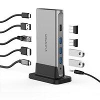 Concentrador de red USB tipo C 11 en 1, adaptador de estación de acoplamiento para MacBook Pro USB-C, Multi HDMI, RJ45, VGA, USB 3,0, 2,0, con potencia (100W)