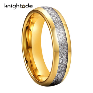 6mm Gold Color/Silvery Tungsten Carbide Rings White Meteorite Inlay Tungsten Wedding Band Engagement Ring Dome Polished Finish