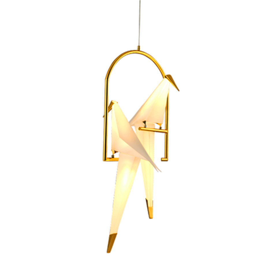 Pájaro nórdico LED luces colgantes Origami grúa pájaro lámpara colgante dormitorio sala comedor interior decoración para el hogar accesorios de cocina - 6