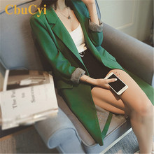 Spring Autumn Women Long Blazers Jackets High Quality Notched Jacket Bl